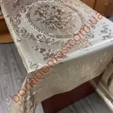 8128 F Скатерти на тканной основе шелкография  золото/серебро 1,20*1,50м 10шт