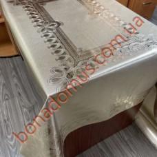 8706 F Скатерти на тканной основе шелкография  золото/серебро 1,20*1,50м 10шт